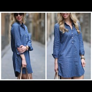J. Crew Chambray denim long sleeve dress.